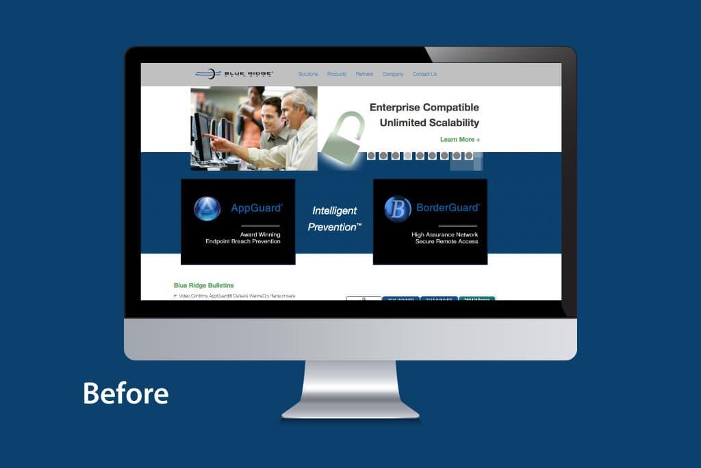 Website mock Blue Ridge Networks before