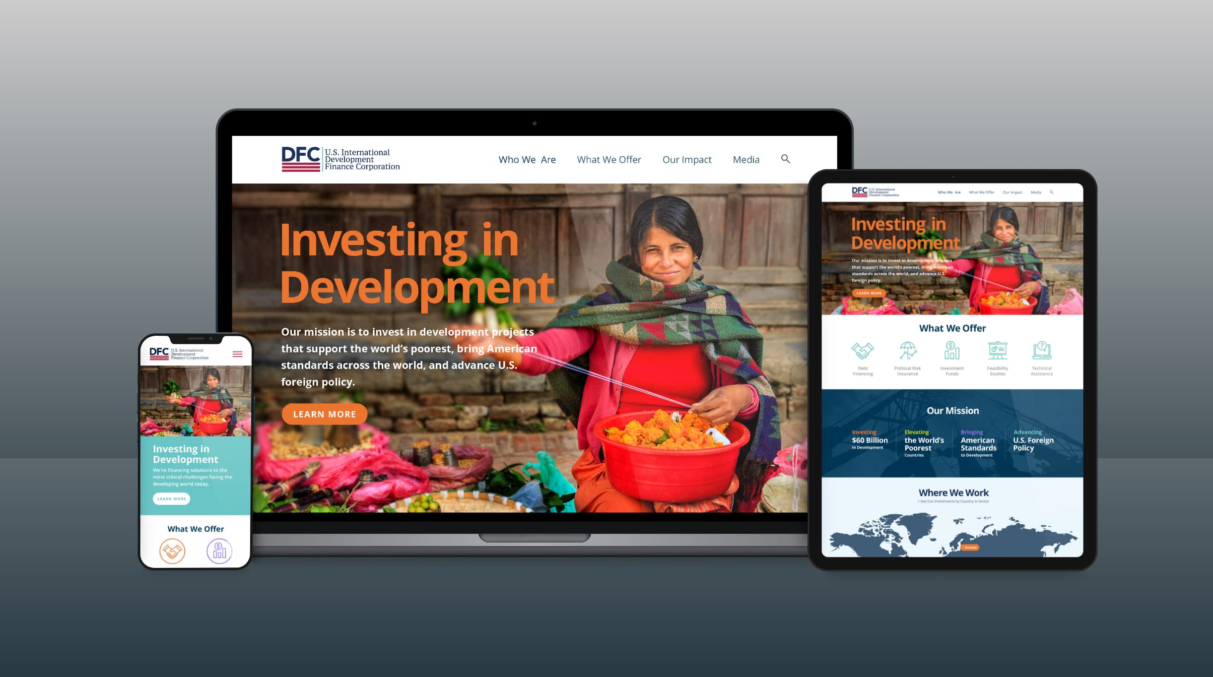 Our design and web team designed and developed a robust website which involved intensive collaboration across different teams to ensure the site was fast, secure, user-friendly, and consistent with DFC's branding strategy.