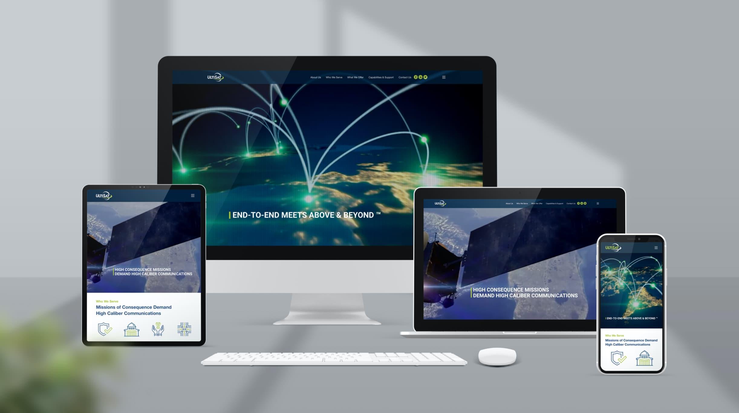 UltiSat website design and development using WordPress